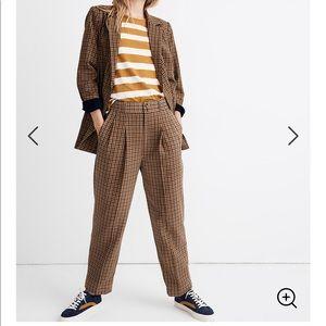 Madewell pleated plaid trousers